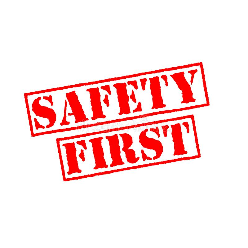 Safety first rubber stamp royalty free illustration