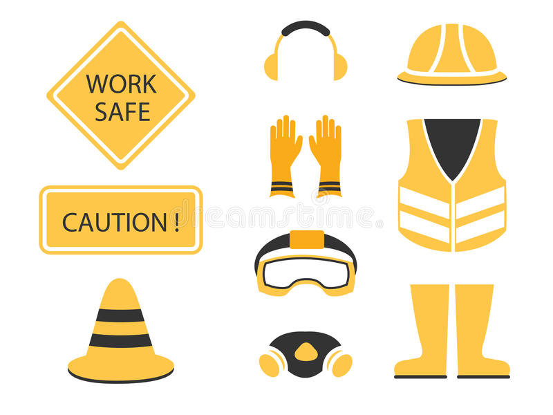 Safety first set and under construction symbol stock illustration