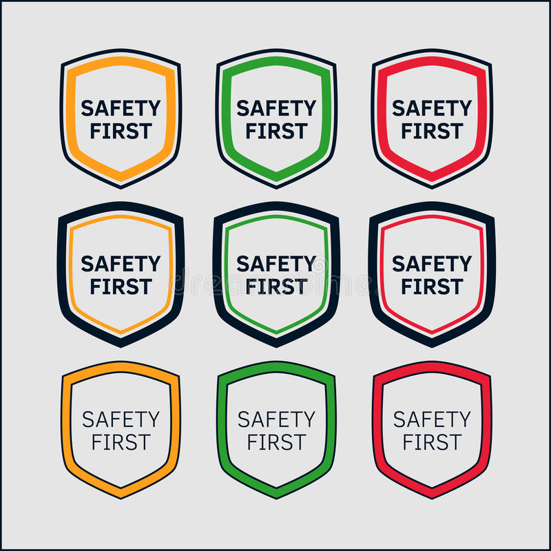 Safety First shield set royalty free stock photography