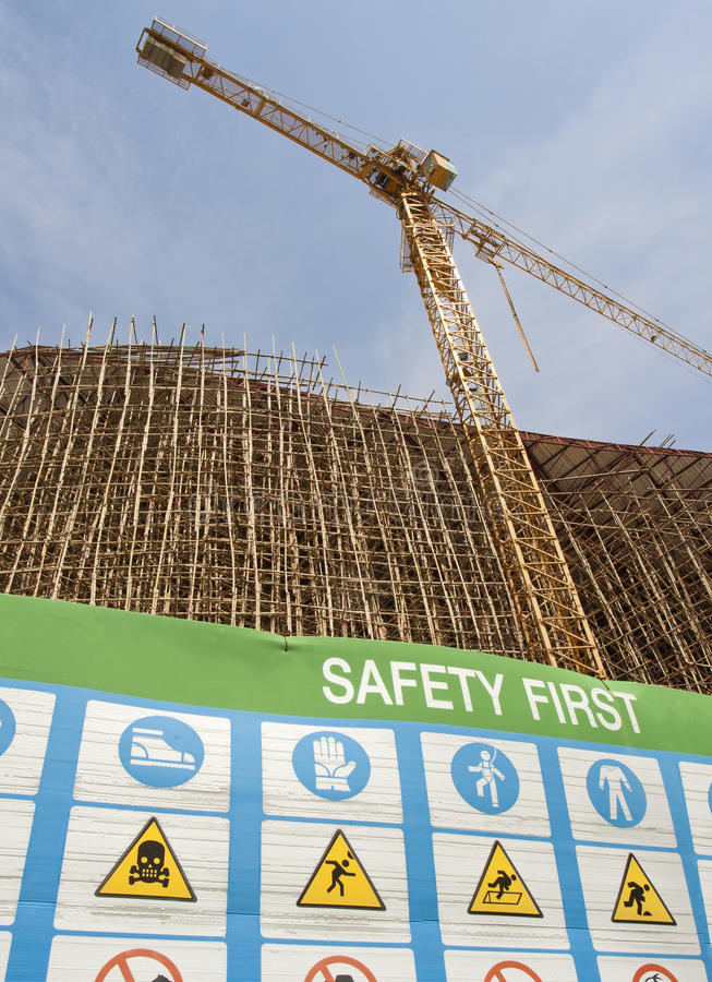 Safety first symbol in construction site stock images