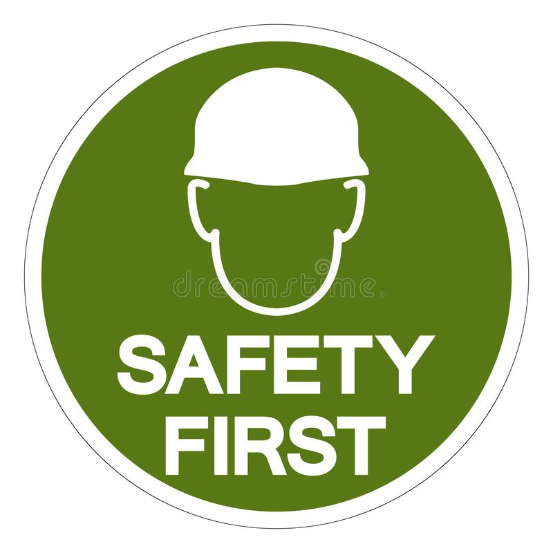 Free Safety First Symbol Sign, Vector Illustration, Isolated On White Background Label .EPS10 Stock Images - 210595414