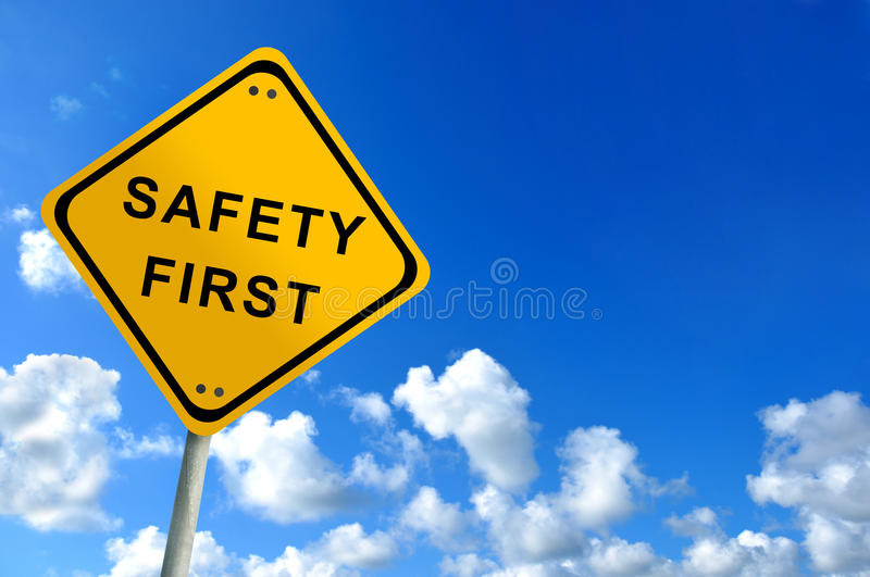 Safety first traffic sign royalty free stock photos