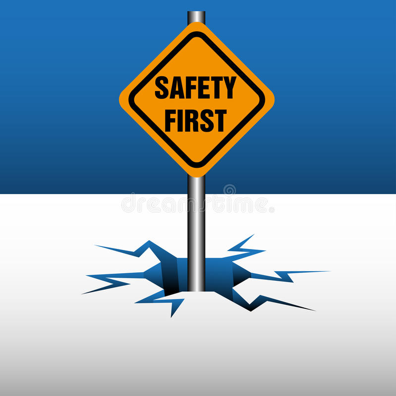 Safety first warning plate royalty free stock image