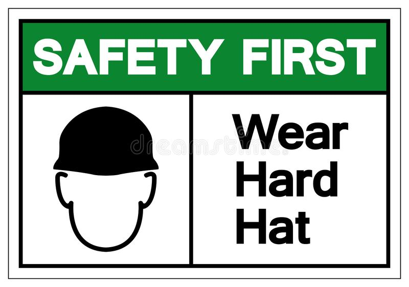 Safety First Wear Hard Hat Symbol Sign, Vector Illustration, Isolate On White Background Label. EPS10 royalty free illustration