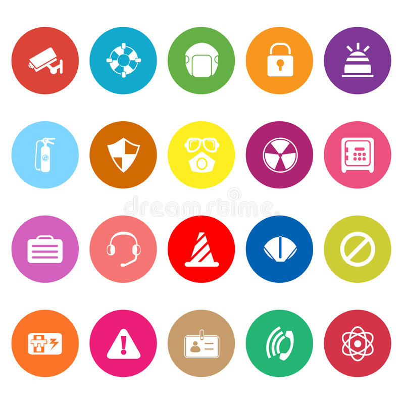 Safety flat icons on white background vector illustration