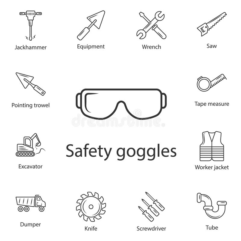 Safety glasses icon. Simple element illustration. Safety glasses symbol design from Construction collection set. Can be used for w. Eb and mobile on white royalty free illustration