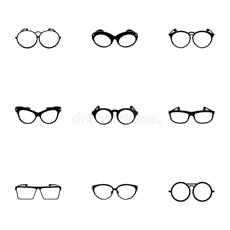 Safety glasses icons set, simple style vector illustration