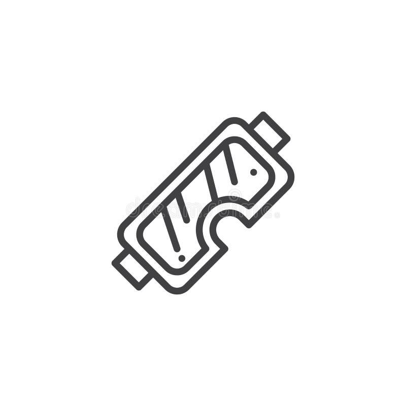 Safety glasses line icon stock illustration