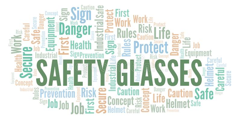 Safety Glasses word cloud. vector illustration