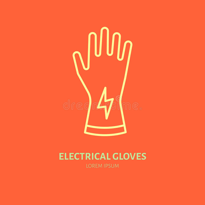 Safety gloves, hand protection flat line icon. Vector logo for personal protective equipment store. stock illustration