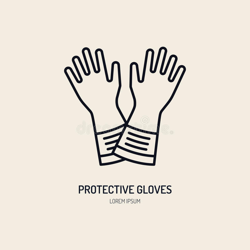 Safety gloves, hand protection flat line icon. Vector logo for personal protective equipment store. Safe work thin vector illustration