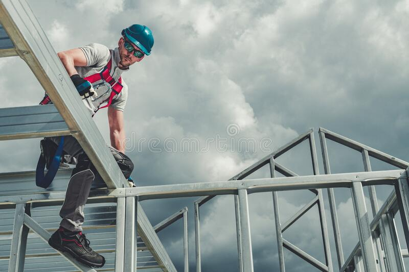 Safety Hard Hat and Harness stock photography