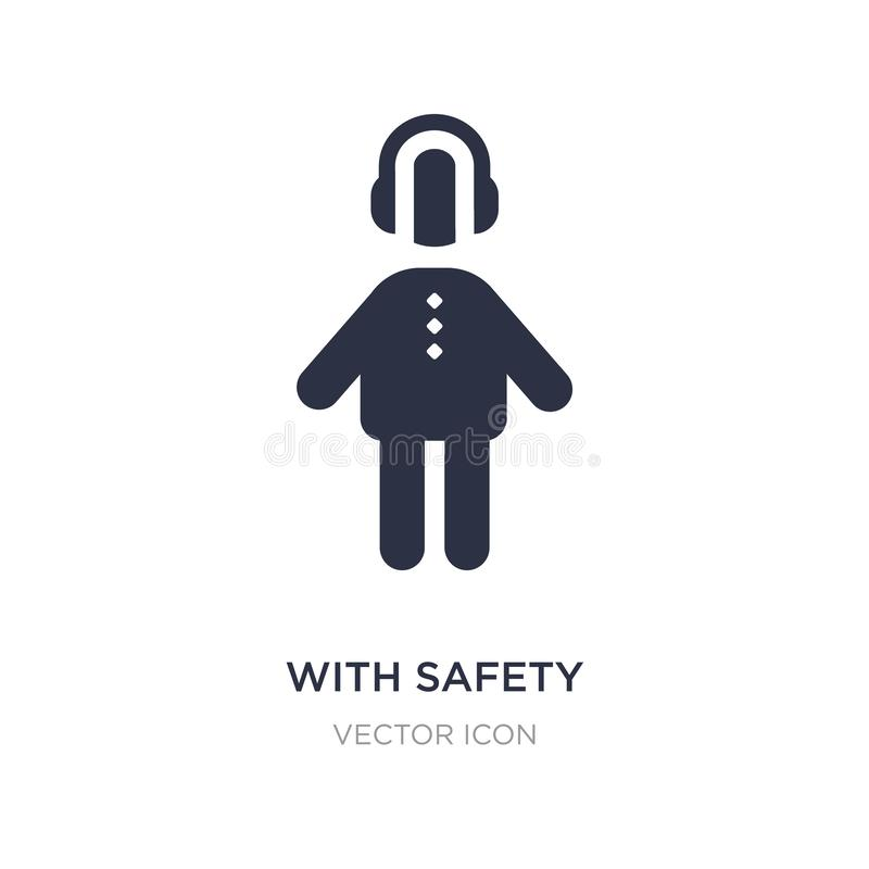 with safety headphone icon on white background. Simple element illustration from People concept vector illustration