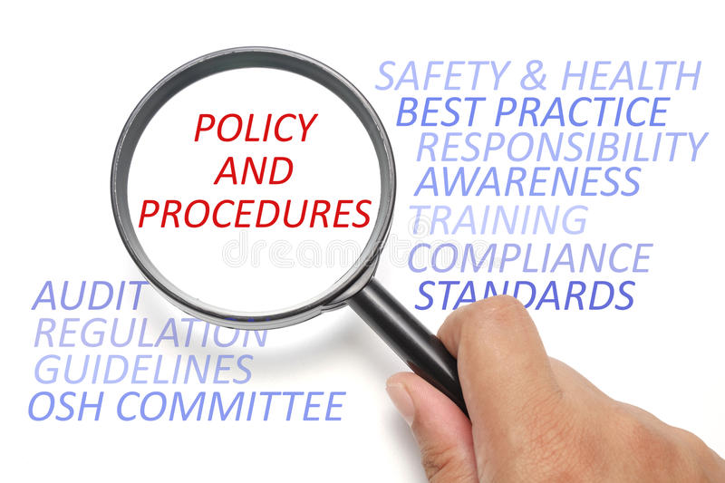Safety and health at workplace conceptual, focus on Policy and Procedures. Safety and health info-text, business conceptual royalty free stock photography