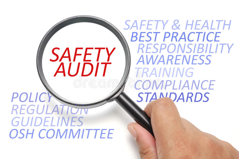 Safety and health at workplace conceptual, focus on Safety Audit. Safety and health info-text, business conceptual royalty free stock image