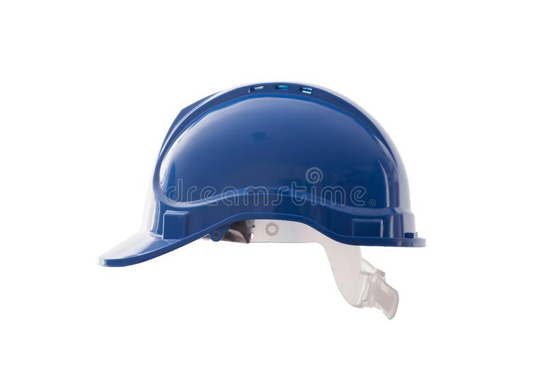 Safety helmet blue isolated on white background. Blue safety site helmet isolated on white background. Protective work clothing for construction site users stock image