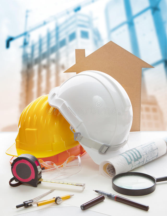 Free Safety Helmet Blue Print Plan And Construction Equipment On Arch Royalty Free Stock Photo - 63392835