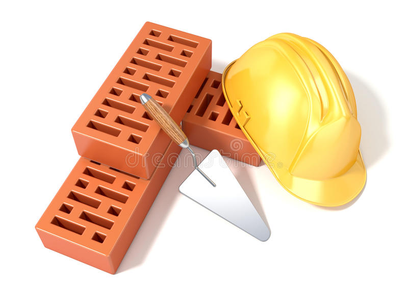 Safety helmet with rectangular perforated bricks and trowel stock illustration