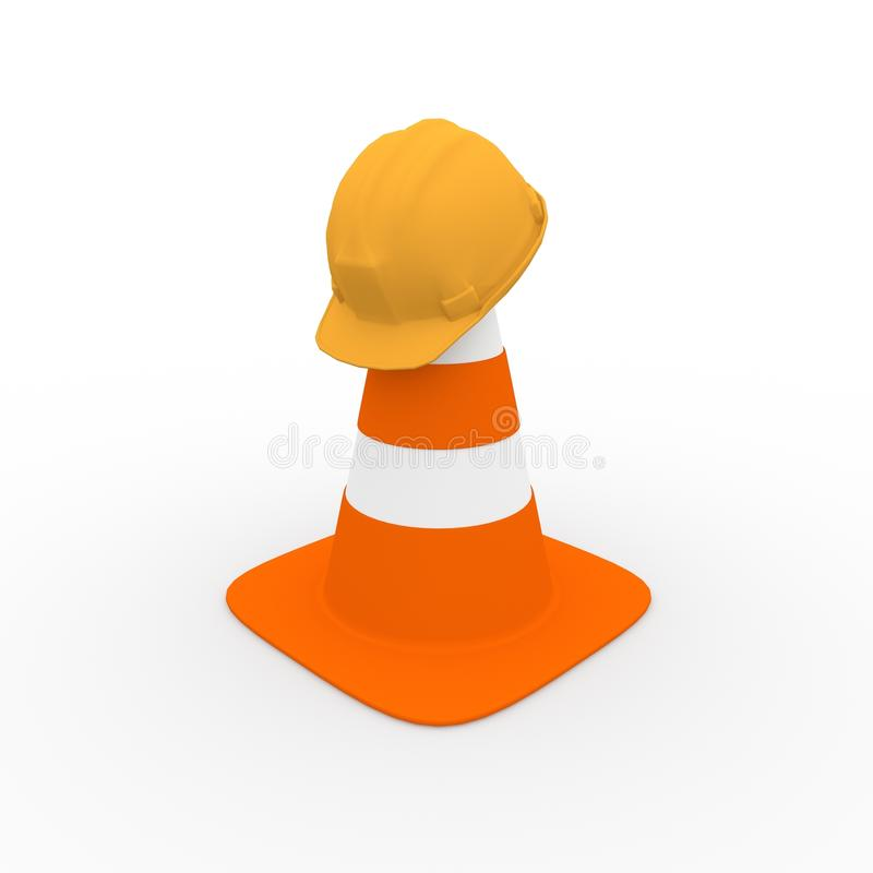 Download Safety Helmet On A Traffic Cone Stock Illustration - Illustration: 25157050
