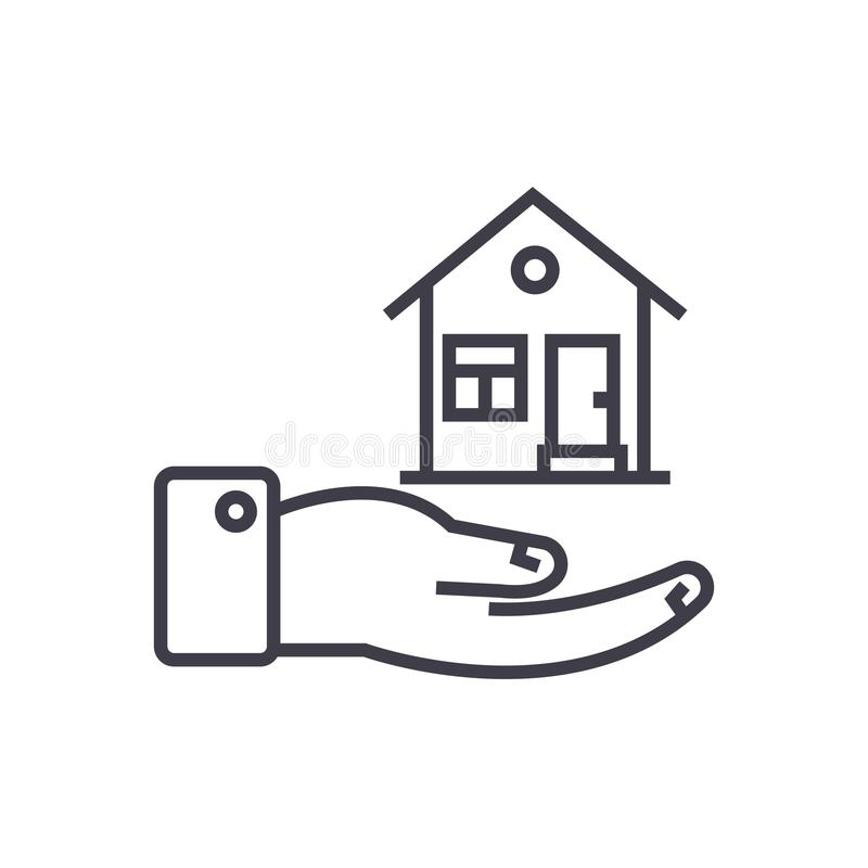 Safety house vector line icon, sign, illustration on background, editable strokes royalty free illustration