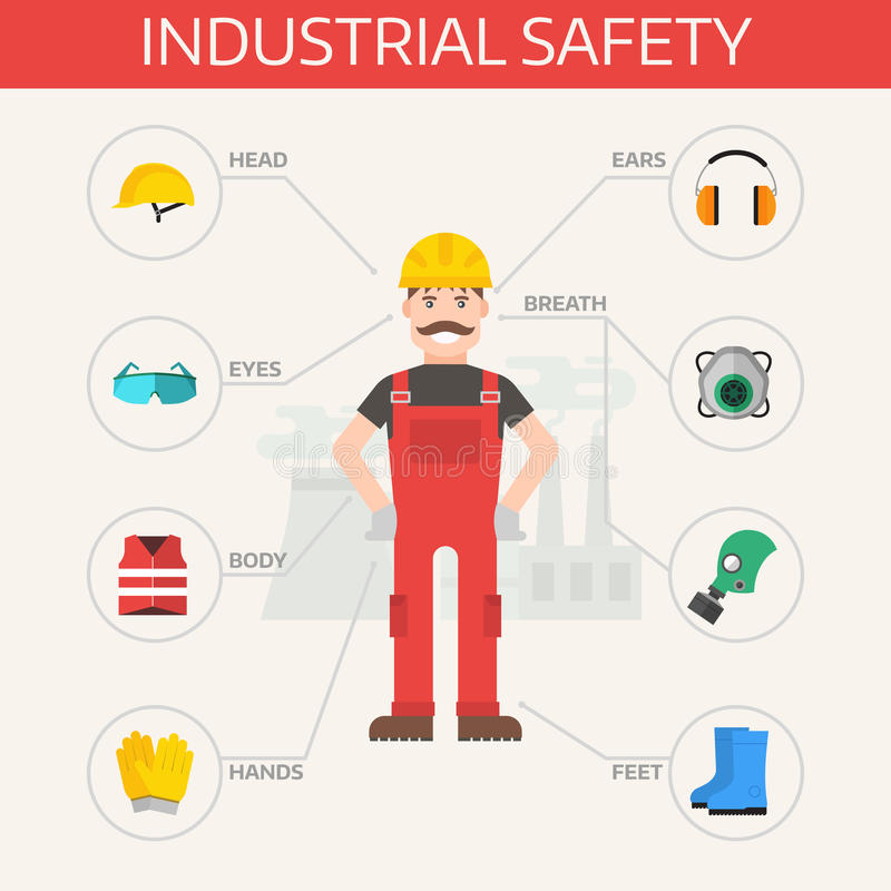 Safety industrial gear kit and tools set flat vector illustration. Body protection worker equipment elements infographic stock illustration