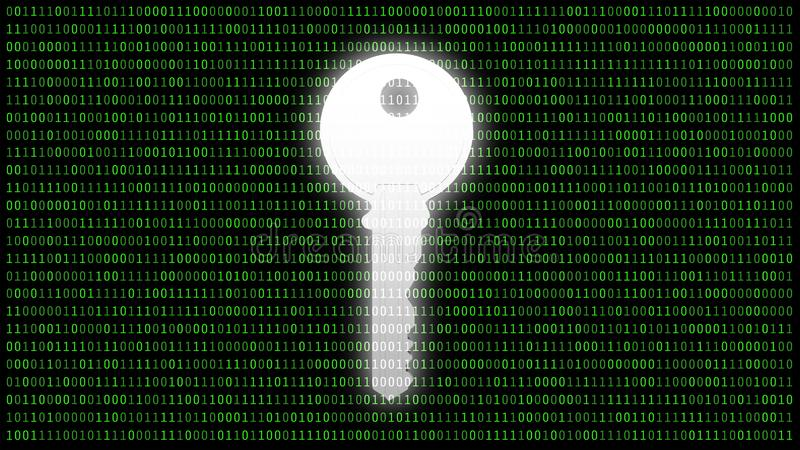 Safety key for protecting password with 01 or binary numbers on the computer screen on monitor background matrix, Digital data vector illustration