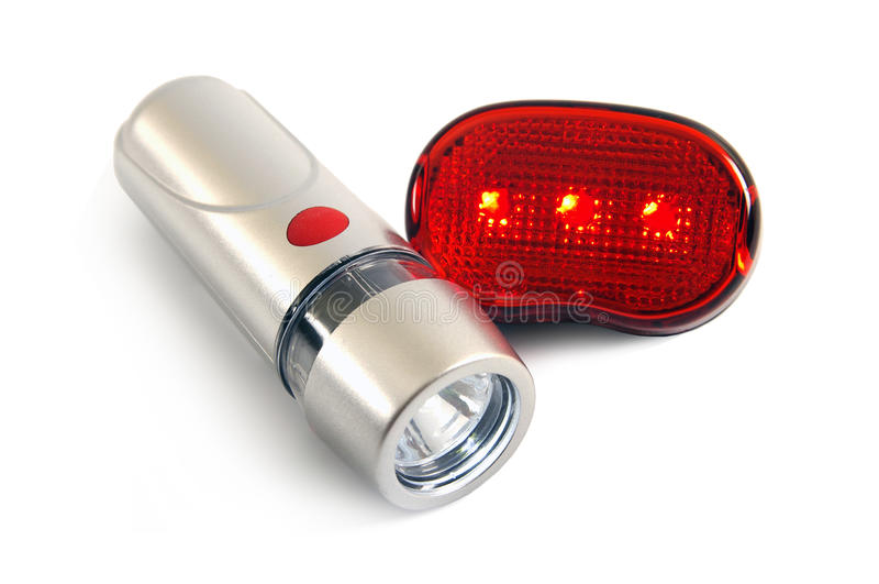 Safety lights for the bicycle. On a white background stock photo