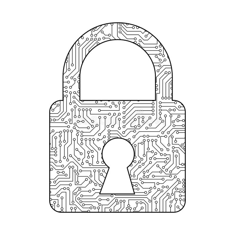 safety lock for protecting password with 01 or binary numbers on the computer screen on monitor