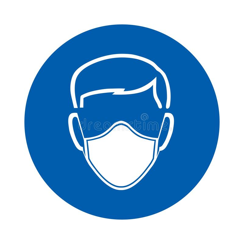 Free Safety Mask Must Be Worn Sign Or Symbol. M016.  Standard ISO 7010.  Vector Design Isolated On White Background Stock Images - 180646814