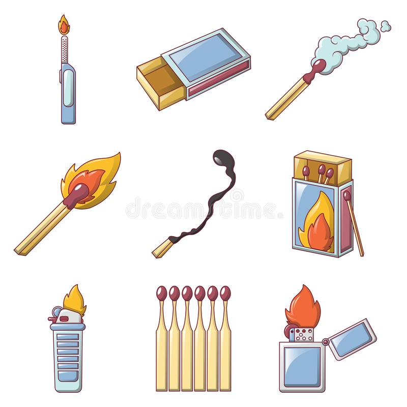 Free Safety Match Ignite Burn Icons Set, Cartoon Style Royalty Free Stock Images - 118000659