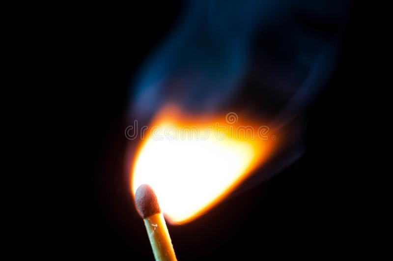 Safety match ignition close up macro shot. royalty free stock image