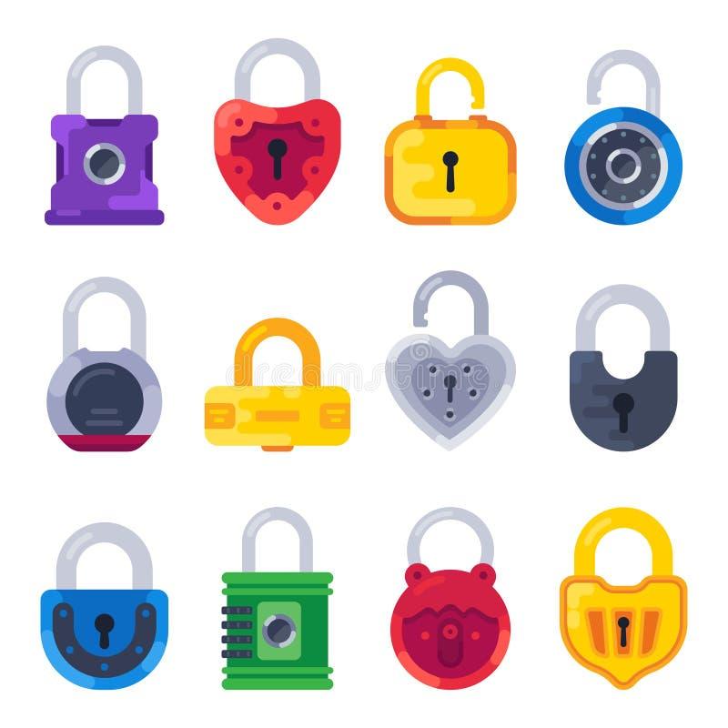 Free Safety Mechanical Lock. Safe Key Padlock, Golden Locks And Brass Padlocks Isolated Flat Vector Set Royalty Free Stock Photos - 137083578