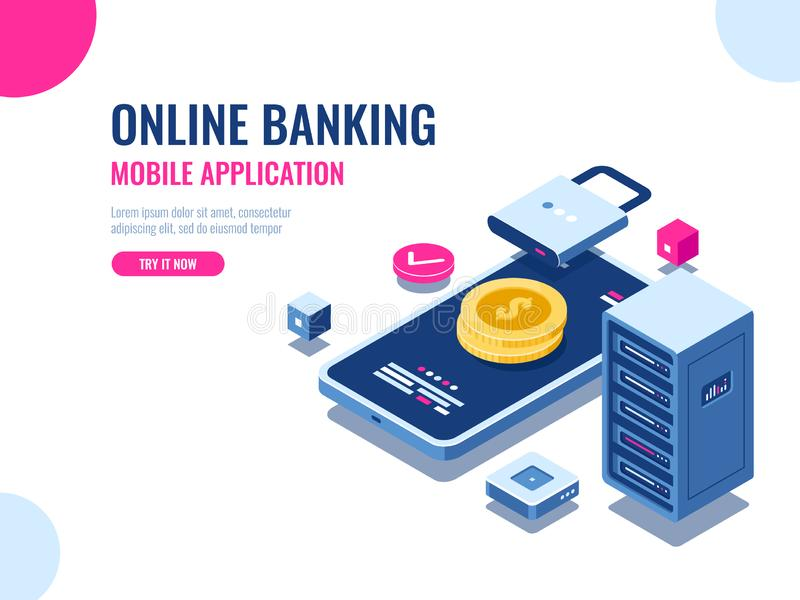 Safety of money on internet, protected transaction payment, mobile application online bank, blockchain technology stock illustration