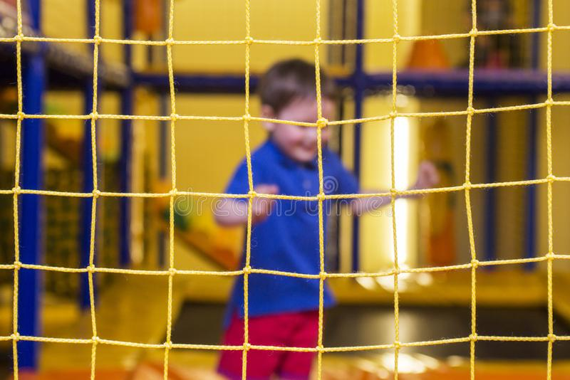 A safety net in indoor playground room stock photos