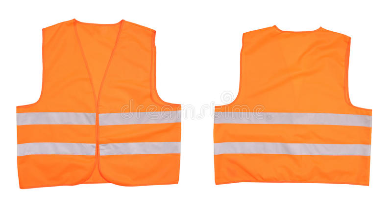 Safety orange vest. Front and back view royalty free stock image