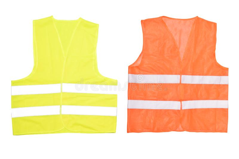 Safety orange vest isolated on a white background royalty free stock photography