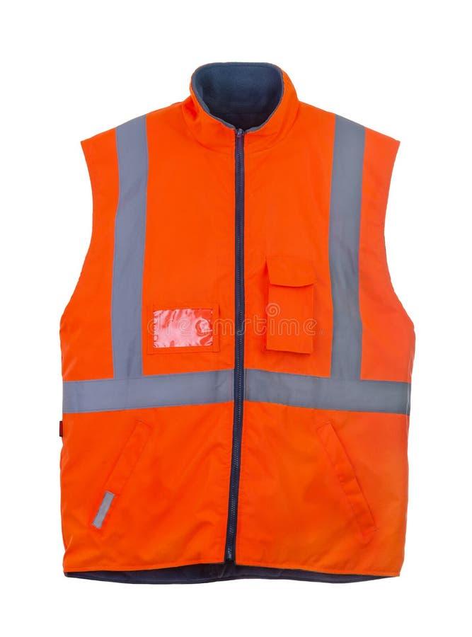 Safety orange vest. Safety orange reflective winter vest isolated on white royalty free stock photography