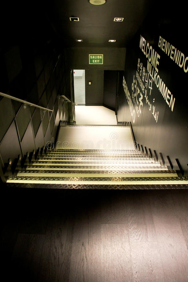 Safety output, flight of steps. A foreshortened view of a safety output, with a flight of steps, portrait cut stock photography