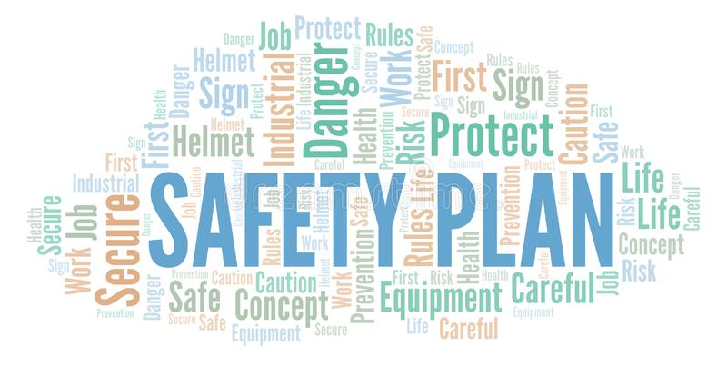 Safety Plan word cloud. vector illustration
