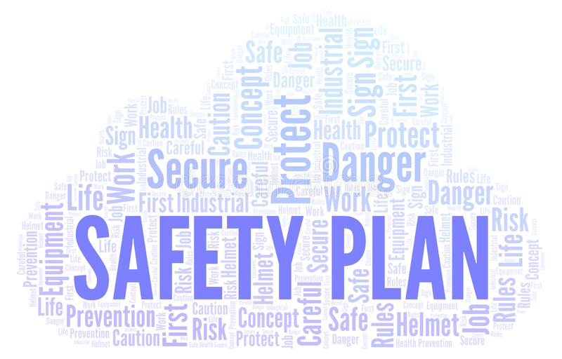 Safety Plan word cloud. royalty free illustration
