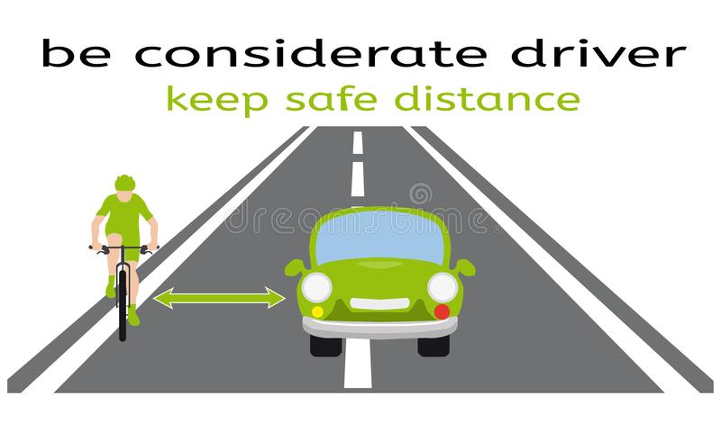 Safety on the road, bycicle and car, how to overtake a cyclist correct way, model situation, considerate driver royalty free illustration