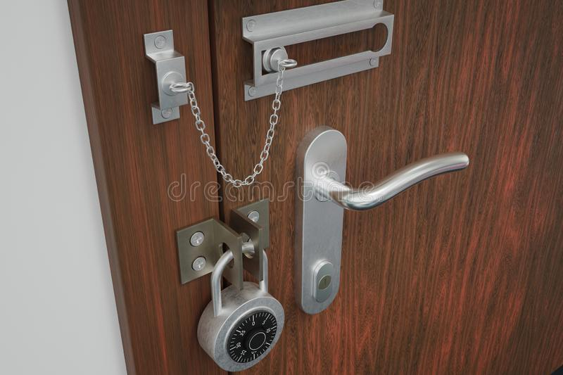 Safety and security concept. Door with many locks. 3D rendered illustration. Safety and security concept. Door with many locks. 3D rendered illustration vector illustration