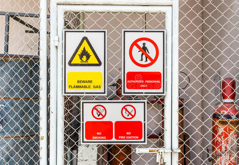 Safety signs broad stock photo