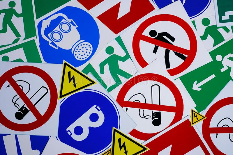 Safety signs and symbols. Health and safety signs and symbols in the workplace royalty free stock image