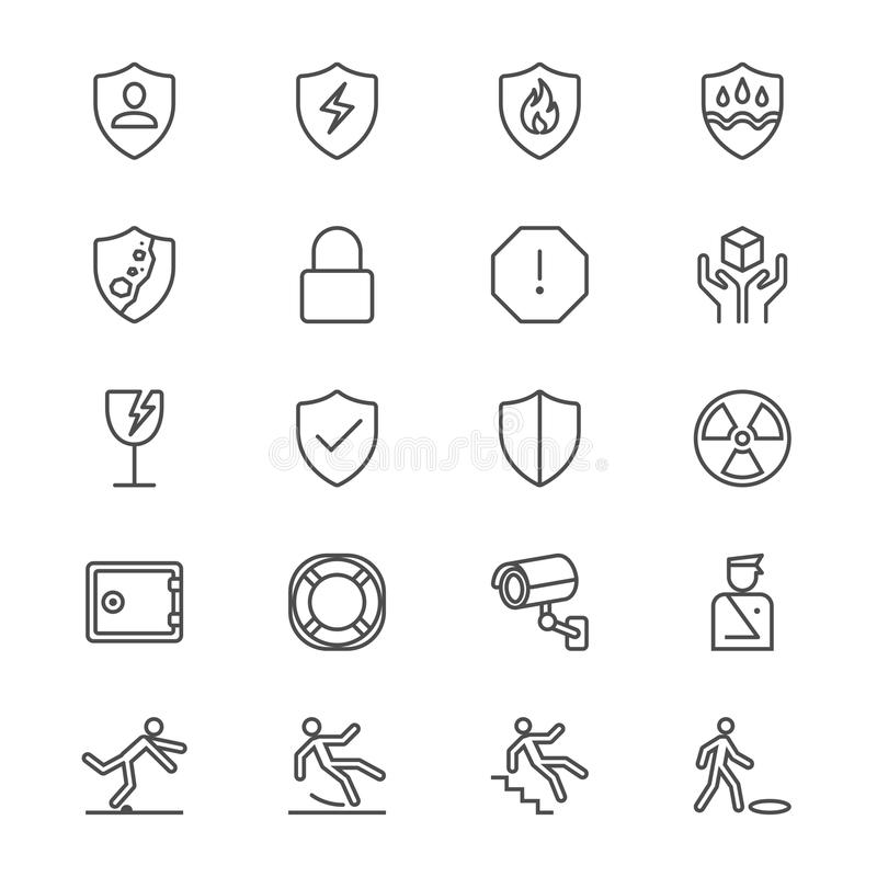 Safety thin icons. Simple, Clear and sharp. Easy to resize royalty free illustration