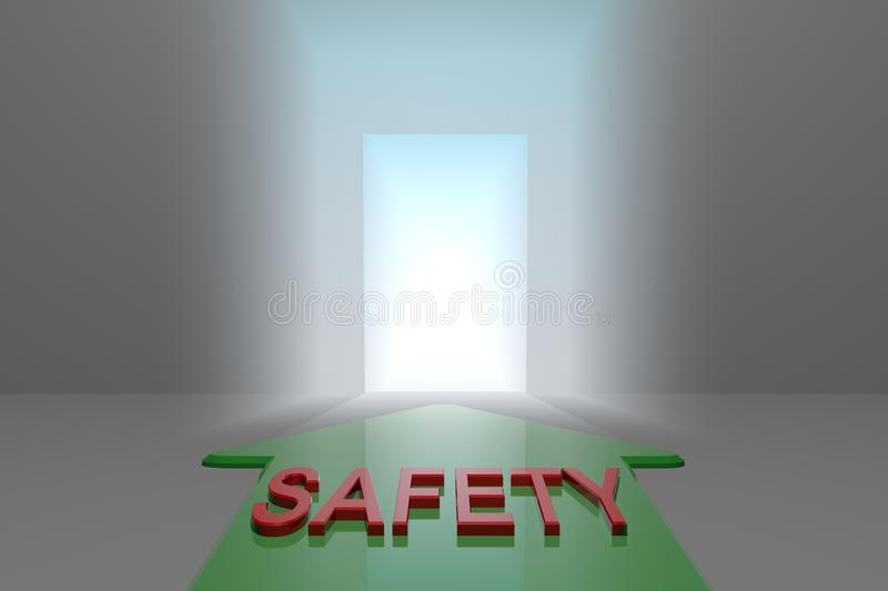 Safety to the open gate. Green arrow with safety word front of the open gate , 3d rendered stock illustration