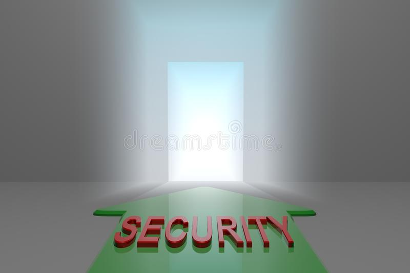 Safety to the open gate. Green arrow with safety word front of the open gate , 3d rendered vector illustration