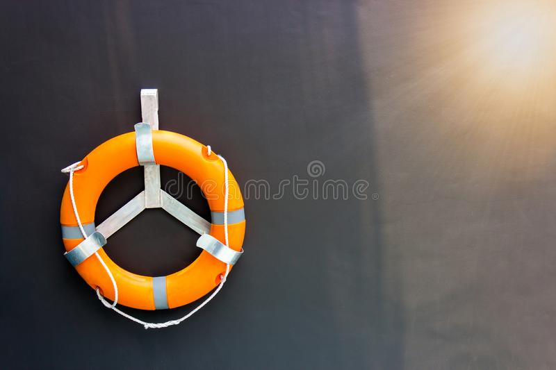 Safety torus with gray background,Help the victims of drowning. Copy space royalty free stock photo