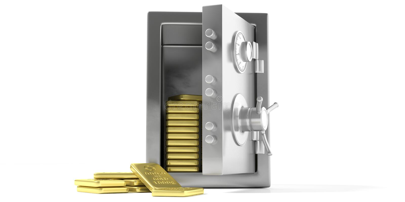 Safety vault with gold bullion on a white background. 3d illustration. Fortune safety concept. Safety vault with gold bullion isolated on a white background. 3d royalty free illustration