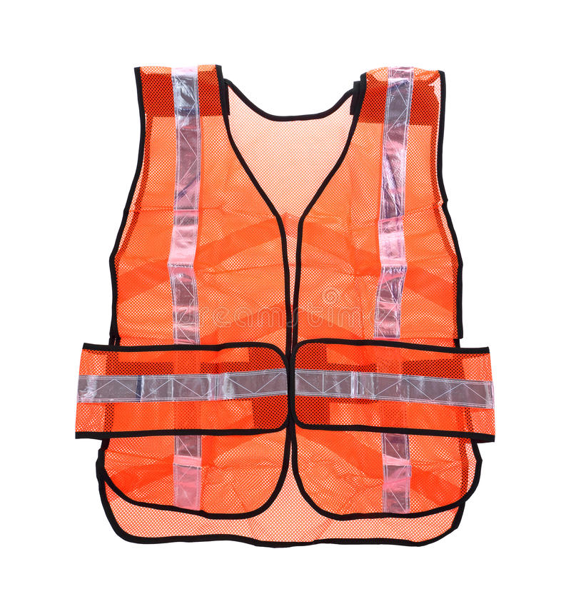 Safety Vest Front View. Looking down at an orange mesh safety vest royalty free stock images